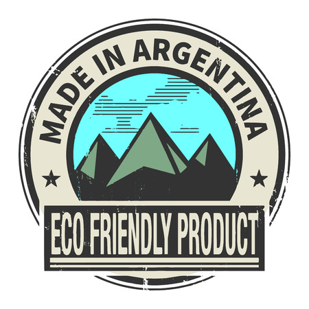 natural ice pastime: Abstract stamp or label with text Made in Argentina, Eco Friendly Product