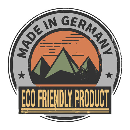 natural ice pastime: Abstract stamp or label with text Made in Germany, Eco Friendly Product Illustration