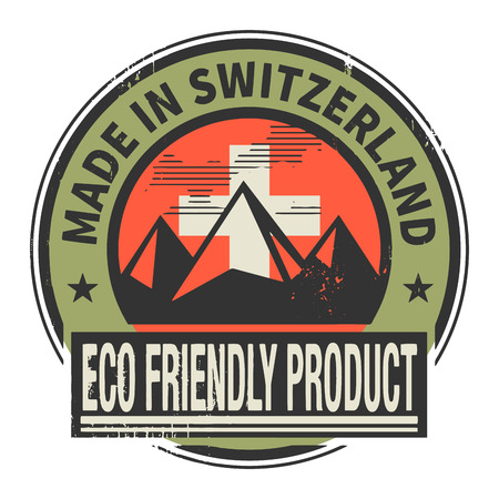 natural ice pastime: Abstract stamp or label with text Made in Switzerland, Eco Friendly Product