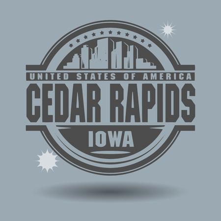 cedar: Stamp or label with text Cedar Rapids, Iowa inside