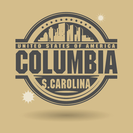 carolina: Stamp or label with text Columbia, South Carolina inside Illustration
