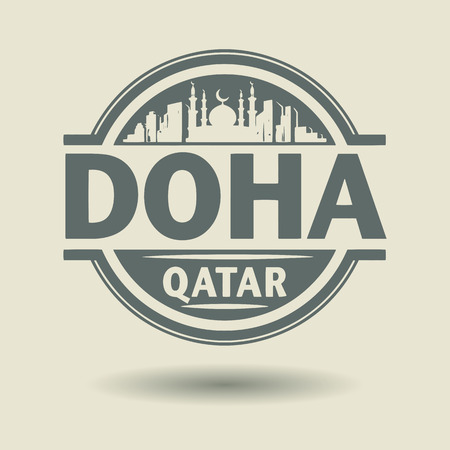 doha: Stamp or label with text Doha, Qatar inside Illustration