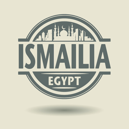 Stamp or label with text Ismailia, Egypt inside Vector