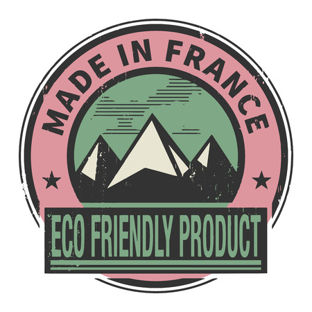 natural ice pastime: Abstract stamp or label with text Made in France, Eco Friendly Product Illustration