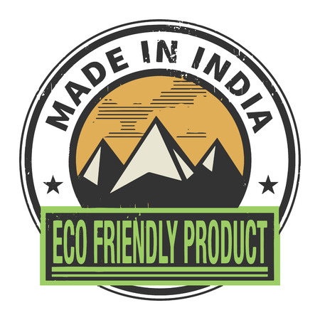 natural ice pastime: Abstract stamp or label with text Made in India, Eco Friendly Product
