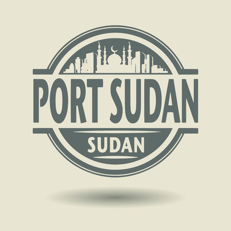 sudan: Stamp or label with text Port Sudan, Sudan inside