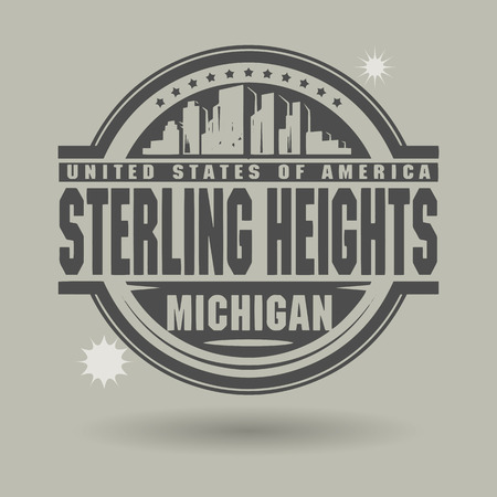 heights: Stamp or label with text Sterling Heights, Michigan inside Illustration