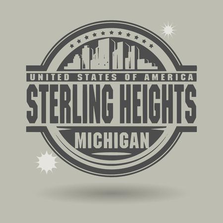 sterlina: Timbro o l'etichetta con il testo Sterling Heights, Michigan all'interno