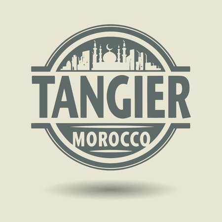 tangier: Stamp or label with text Tangier, Morocco inside