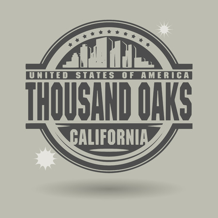 thousand: Stamp or label with text Thousand Oaks, California inside