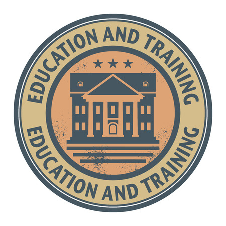 university text: Grunge rubber stamp with text Education and Training written inside