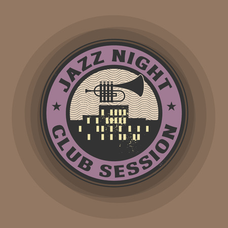 Stamp or label with trumpet and the text Jazz night, Club session written inside Vector