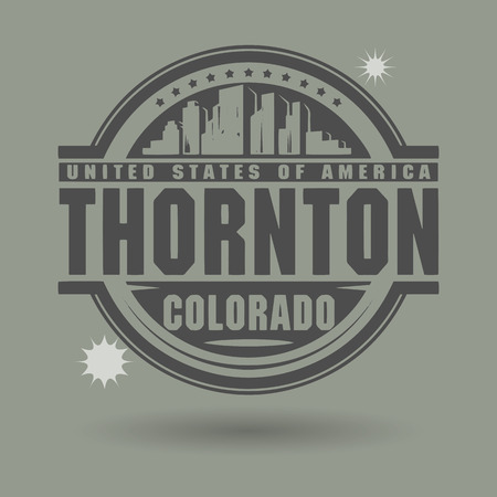 capital of colorado: Stamp or label with text Thornton, Colorado inside Illustration
