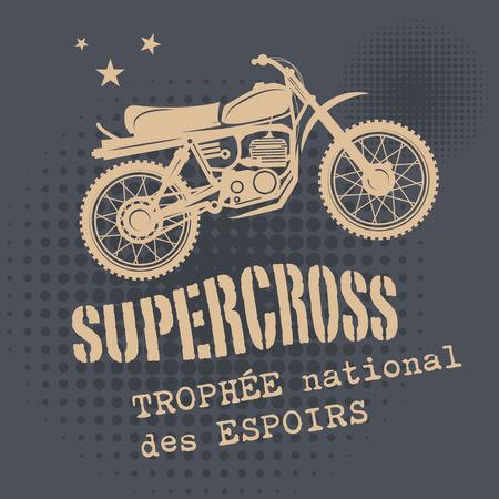 summer tires: Motocross vintage background