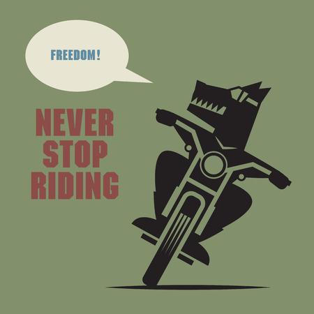 Abstract Bikers label or poster Ilustração
