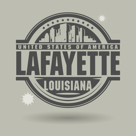 lafayette: Stamp or label with text Lafayette, Louisiana inside Illustration