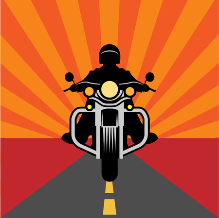 silueta ciclista: Cartel de la motocicleta de la vendimia