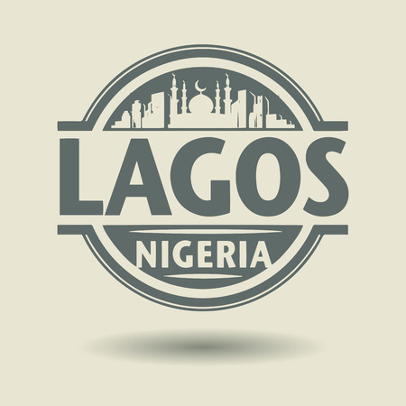 Lagos: Stamp or label with text Lagos, Nigeria inside