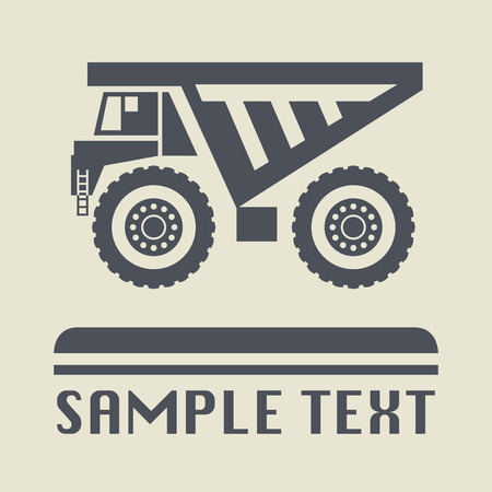Dump truck icon or sign Vector