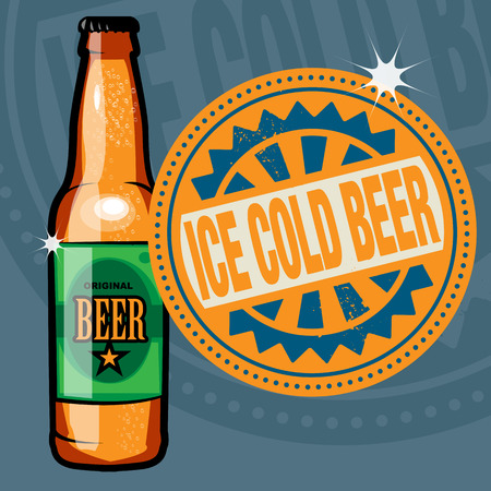 beer bottle: Abstract stamp or label with the beer bottle and text Ice Cold Beer written inside