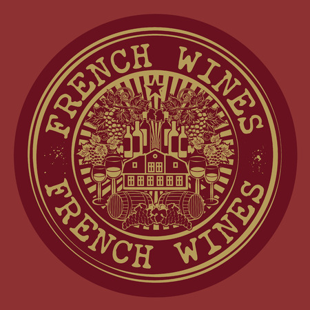 blanc: Stamp or label with words French Wines Illustration