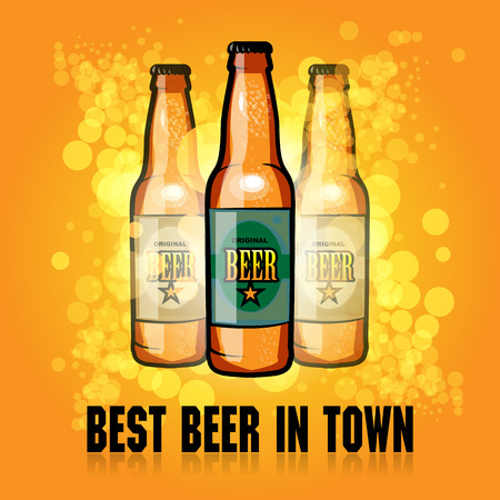 Abstract background with the beer bottle and text Best Beer in Town written inside Vector