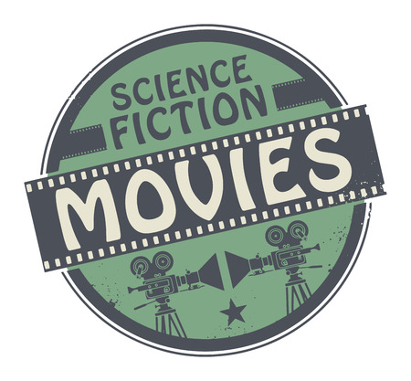 movie projector: Stamp or label with movie projector, filmstrip and the text Science Fiction Movies written inside Illustration