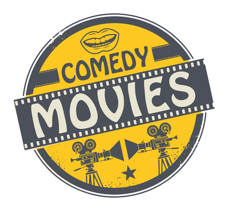 comedy: Stamp or label with movie projector, filmstrip and the text Comedy Movies written inside