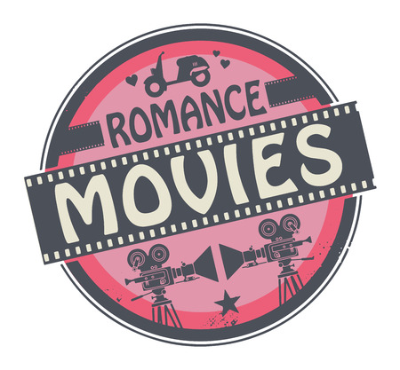 Stamp or label with movie projector, filmstrip and the text Romance Movies written inside Vector