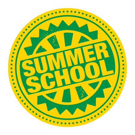 summer school: Abstract stamp or label with the text Summer School written inside Illustration