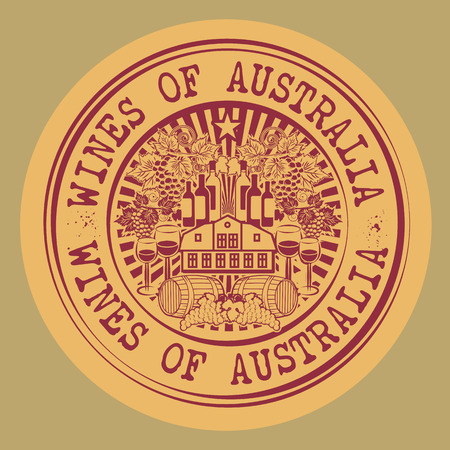 australia stamp: Stamp or label with words Wines of Australia Illustration