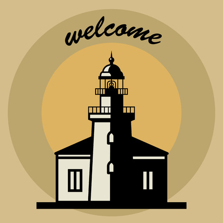 Sticker or label with Lighthouse silhouette and text Welcome Vector