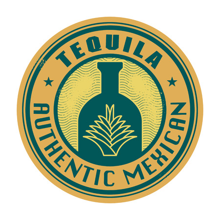 Label or stamp with the text Tequila, Authentic Mexican inside