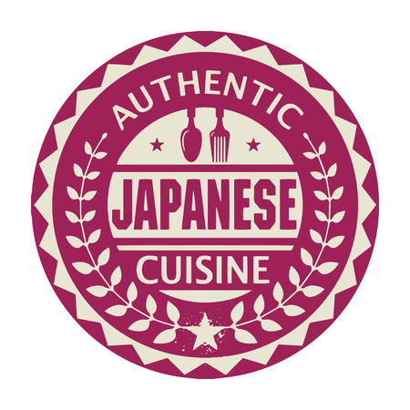 Abstract stamp or label with the text Authentic Japanese Cuisine written inside Vector