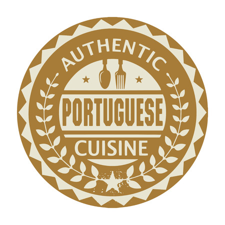 Abstract stamp or label with the text Authentic Portuguese Cuisine written inside
