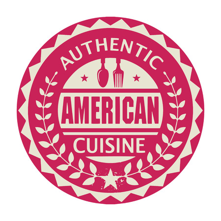 american cuisine: Abstract stamp or label with the text Authentic American Cuisine written inside Illustration