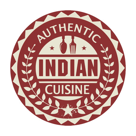 india food: Abstract stamp or label with the text Authentic Indian Cuisine written inside