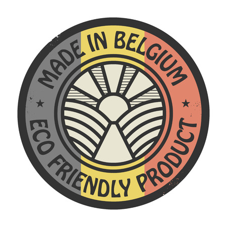 natural ice pastime: Abstract stamp or label with text Made in Belgium, Eco Friendly Product