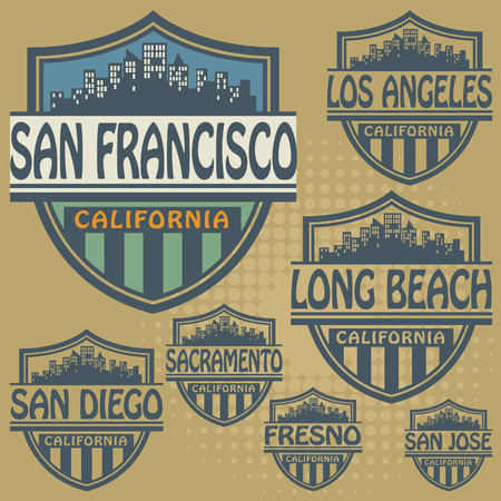 san diego: Stamp or label set with names of California cities