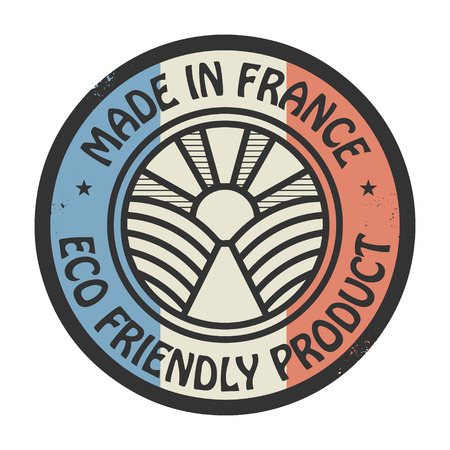 Abstract stamp or label with text Made in France, Eco Friendly Product Vector