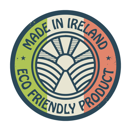 natural ice pastime: Abstract stamp or label with text Made in Ireland, Eco Friendly Product