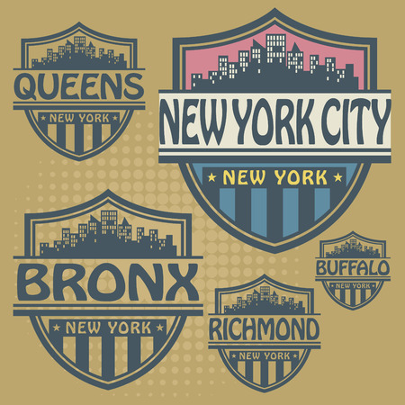 bronx: Stamp or label set with names of New York cities