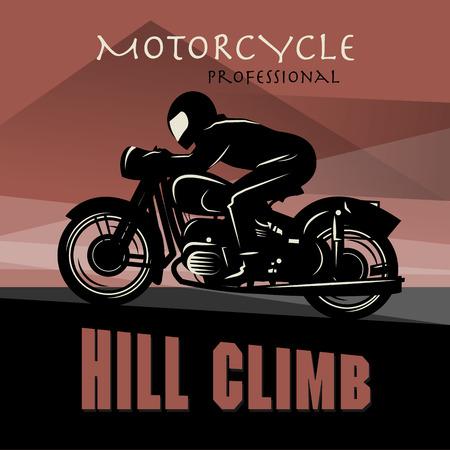 motor race: Vintage Motorcycle ras poster Stock Illustratie