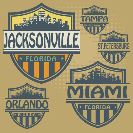 jacksonville: Stamp or label set with names of Florida cities
