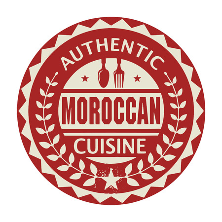 moroccan cuisine: Abstract stamp or label with the text Authentic Moroccan Cuisine written inside