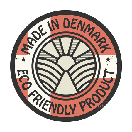 natural ice pastime: Abstract stamp or label with text Made in Denmark, Eco Friendly Product Illustration