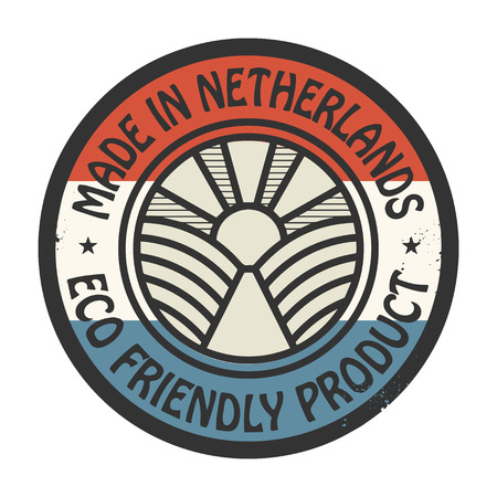 made in netherlands: Abstract stamp or label with text Made in Netherlands, Eco Friendly Product Illustration