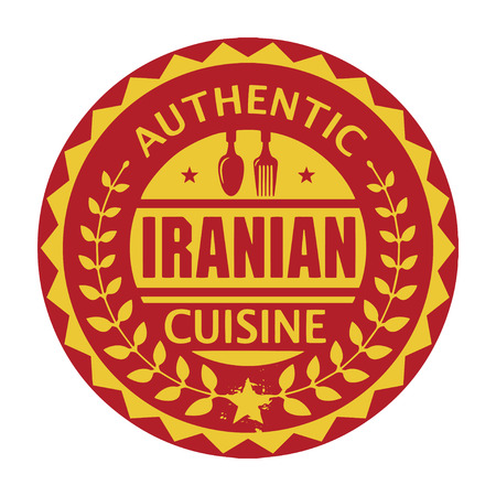 iranian: Abstract stamp or label with the text Authentic Iranian Cuisine written inside