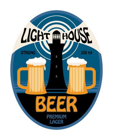 beer house: Lighthouse beer label Illustration