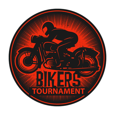 motor cycle: Stamp or label with the words Bikers Tournament inside